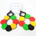 "NEW 2.75"" Wood Earrings  Painted Circles Rasta Colors  .54 per pair"