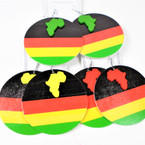 "NEW 2.75"" Round  Rasta Color  Wood Earrings  w/ Mini Africa Map .54 per pair"