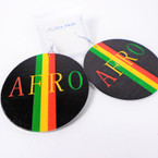 "NEW 2.75"" Round Wood Earrings  AFRO Rasta Colors  .54 per pair"