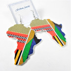 "NEW 3"" Rasta Color Africa Map  Wood Earrings New Color Pattern   .54 per pair"