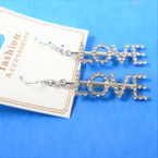 "1.5"" Silver Crystal Stone LOVE Earrings .54 per pair"