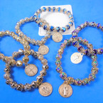 10MM Metallic Crystal Bead Bracelets w/ Gold San Benito Charm .58 each