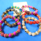 New Cry. Bead Fireball & Glass Bead Stretch Bracelets Mixed Colors  .58 each