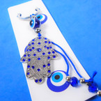 "3"" Hamsa Theme Bracelet w/ Blue Cry.  & Eye Beads .56 each"