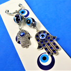"2.5"" 2 LIne Hamsa Theme Bracelet w/ Blue Cry.  & Eye Beads .56 each"