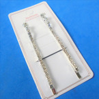 """2 Pack 2.75"""" Silver w/ Clear Crystal Stones Wavy Bobbie Pin Set  .54 per set"""