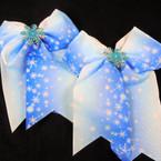 """6"""" X 8"""" Frozen Snowflake Theme Tail Gator Clip Bows .56 each"""