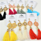 "3"" Popular Tassel  Style Fashion Earrings w/ Gold/Color Top  .56 per pair"