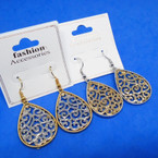 "1.5"" Gold & Silver Two Tone Cast Earring w/ Design .54 per pair"