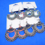 "1.75""  Silver  Cast Fashion Earring w/ Seed Beads  .56 per pair"