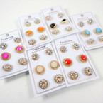 3 Pair Crystal Stone Elegant Fashion Stud Earrings  .56 per set