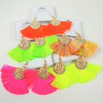 "2.75"" Popular New Color Fringe Style Fashion Earrings  w/ Gold Stone Top .54 per pair"