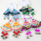"3"" Cute Tribal Cloth Earrings w/ Dangle Beads & Bells .56 per pair"