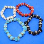 Rd Stone Bead & Chip Semi Precious Stone Stretch Bracelets 12 per pk .58 each