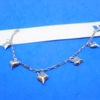 Silver Stainless Steel Dangle Heart Charms Bracelet 12 per pk .58 each