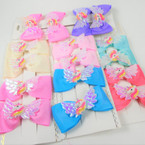 "4 Pack 3"" Gator Clip Bows w/ Unicorn & Angel Wings Pastel Colors .56 per set"