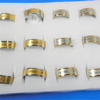 Two Tone Stainless Steel Jesus Love You Band Rings 12 per bx .58 each