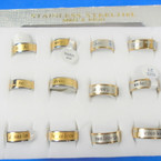Two Tone Stainless Steel Jesus Love You Band Rings w/ Cross  12 per bx .58 each