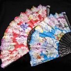 "9"" Black Handle  Fans Mixed Flower Prints  w/ Glitter .56 each"