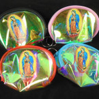 "3.75"" Super Shiney Zipper Coin Purse Keychain  Guadalupe  Pic  .54 each"