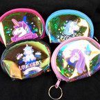 "3.75"" Super Shiney Zipper Coin Purse Keychain Unicorn Theme .54 each"