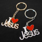 Cast Gold & Silver Epoxy I Love Jesus Keychains 12 per pk .54 each