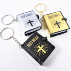 "1.75"" Gold,Silver,Black Mini Bible  Keychains 12 per pk .54 ea"