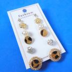 Value Pack 6 Pair  Earrings Leopard Theme ,Crystal & Pearl .54 per set