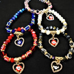Crystal & Eye Bead Bracelets w/ Cry. Heart Charm 12 per pk .56 each