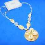 "20"" Light Cord Necklace w/ Cowrie Shells & Beads on Gold Dic   .58 each"