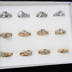 Brillant Wedding Band Ring Set Gold/Silver w/ Crystal Stone Ring  .56 per set