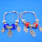 Pandora Style Charm Bracelets Silver w/ Hamsa Charms & Eye Beads  .56 each