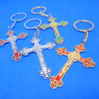 "2.5"" Gold & Silver Metal Cross Keychain w/ Jesus Mixed Colors 12 per pk .54 each"