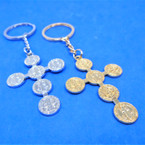 "2"" Gold & Silver Metal Cross Keychain w/ San Benito 12 per pk .54 each"
