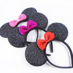 Novelty Black Mouse Ear Headbands w/ Sparkle Bow .56 each