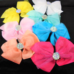 "6"" Sparkle Lace Layered Gator Clip Bows w/ Shiney Stone Center  .54 each bow"