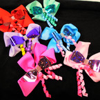"4.5"" Layered Sparkle Gator Clip Bow w/ Dangle Curly Ribbones   .54 each bow"