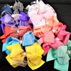 "5"" Layered Gator Clip Bow w/ Sparkle Chiffon Pattern & Stone Center    .54 each bow"