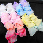 "5"" Layered Gator Clip Bow w/ SparkleChiffon Rainbow Pattern   .54 each bow"