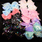 "5.5"" Layered Gator Clip Bow w/ Lg. Shiney Sequins  .54 each bow"