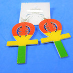 "2.75"" Rasta Color Unk Cross Wood Earrings  .54 per pair"