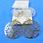 "1.5"" Gold  & Silver Laser CutTree of Life Fashion Earrings Lightweight  .54 per pair"
