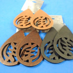 """3"""" Oval Wood Earrings Chinese Center Symbol   .54 per pair"""