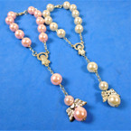 White & Pink Pearl Pocket Rosary w/ Angel Charm .52 each