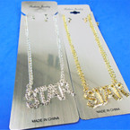 "Gold & Silver Chain Neck Set w/ 1.5"" STAR  Cry. Stone Pendant  .56 per set"