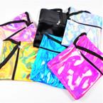 "5"" X 7"" Super Shiney Zipper Bag w/ Side Strap Mixed Colors .58 each"