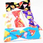 """3"""" Bright Summer Fruit Theme Stretch Headbands Asst Colors (800) 12 per pk    .58 each"""