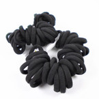 30 Pc Pack Soft & Stretchy Ponytail Holder Rings All Black   .54 per set
