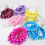 New 3 - Pack Soft Stretchy Hair Twisters w/ Mixed Color Pearls  .56 per set