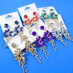 "2.5"" Fashion Earring w/ Acrylic & Cry. Stones Mixed Colors .56 per pair"